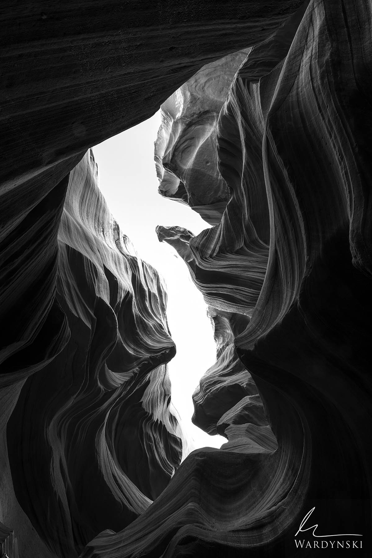 Black and White Fine Art Print | Limited Edition of 50 Like waves frozen in time, hallowed sandstone ripples through Antelope...