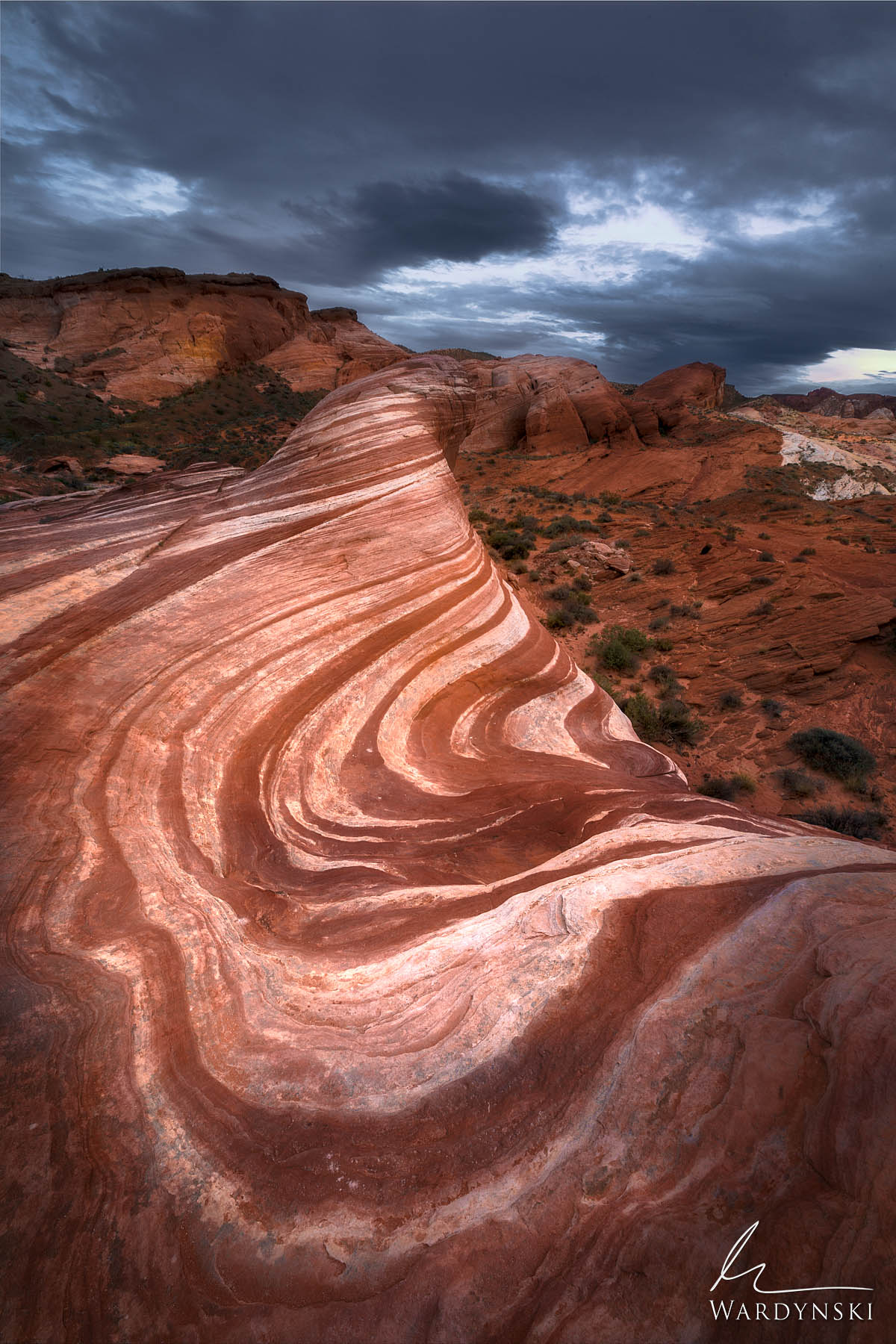 Fine Art Print | Limited Edition of 25  Sandstone swirls create wonderful leading lines in Valley of Fire, Nevada. This odd formation...