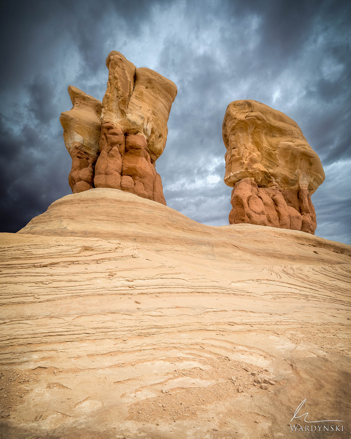 Fine Art Prints | Limited Edition of 100 Sandstone Hoodoos rise into the sky as an approaching storm threatens rain in Grand...