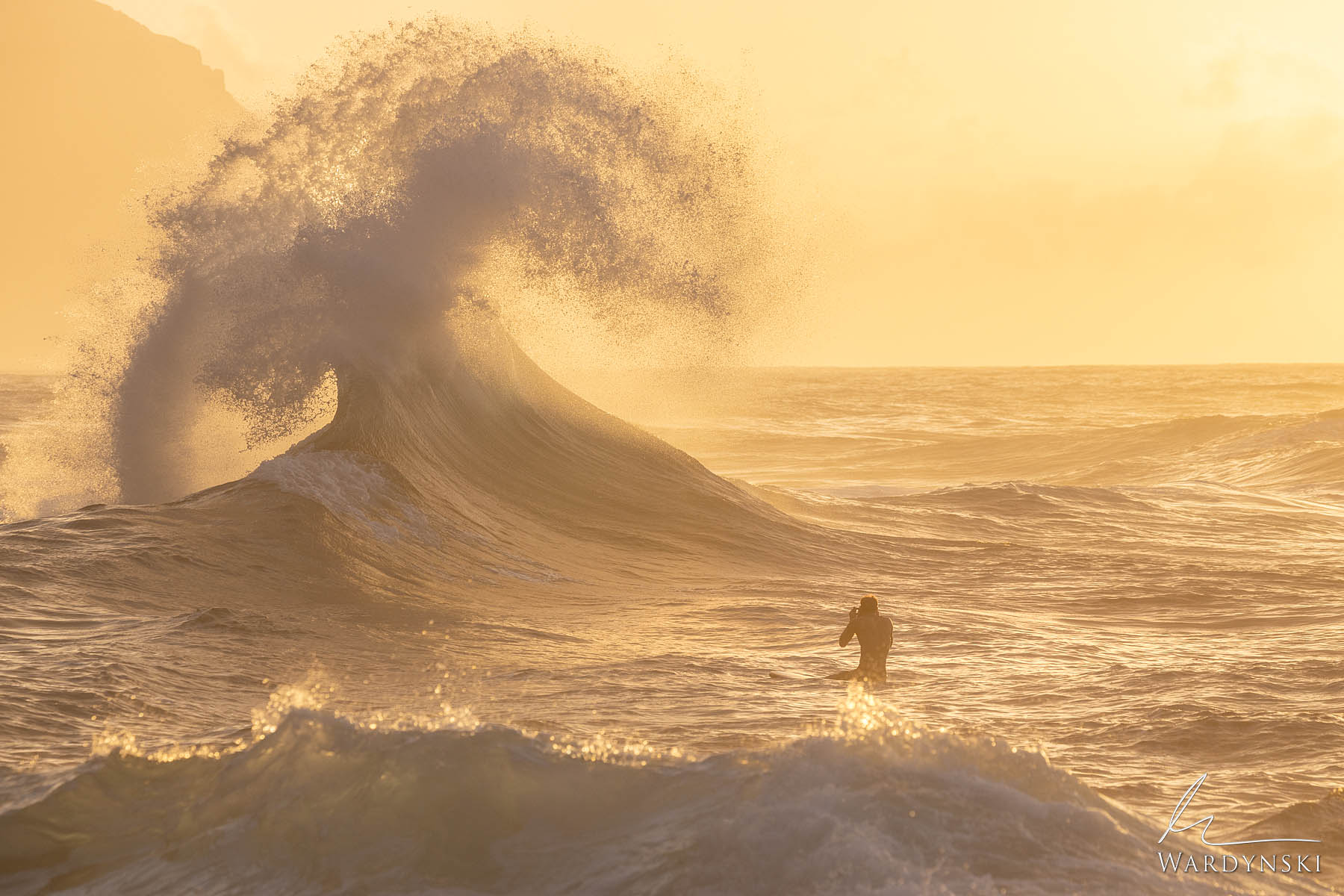 Fine Art Print | Limited Edition of 25  A large wave erupts into a beautiful display at Ke'e Beach in Hawaii just before sunset...