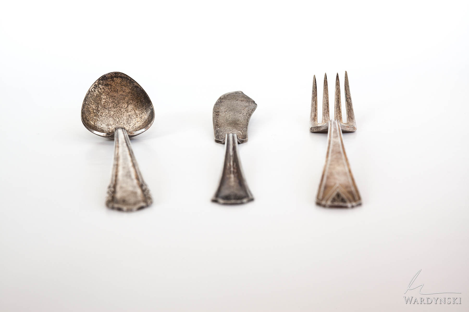 Fine Art Print | Limited Edition of 50  Vintage Silverware with obvious signs of wear on white background. Who was the original...