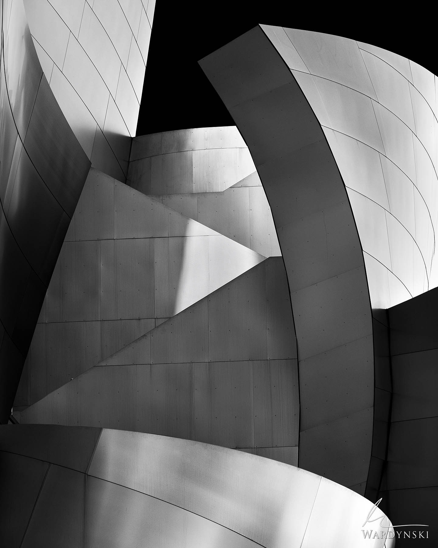 Black and White Fine Art Print | Limited Edition of 50  The machine like architecture of Frank Gehry wraps around itself like...