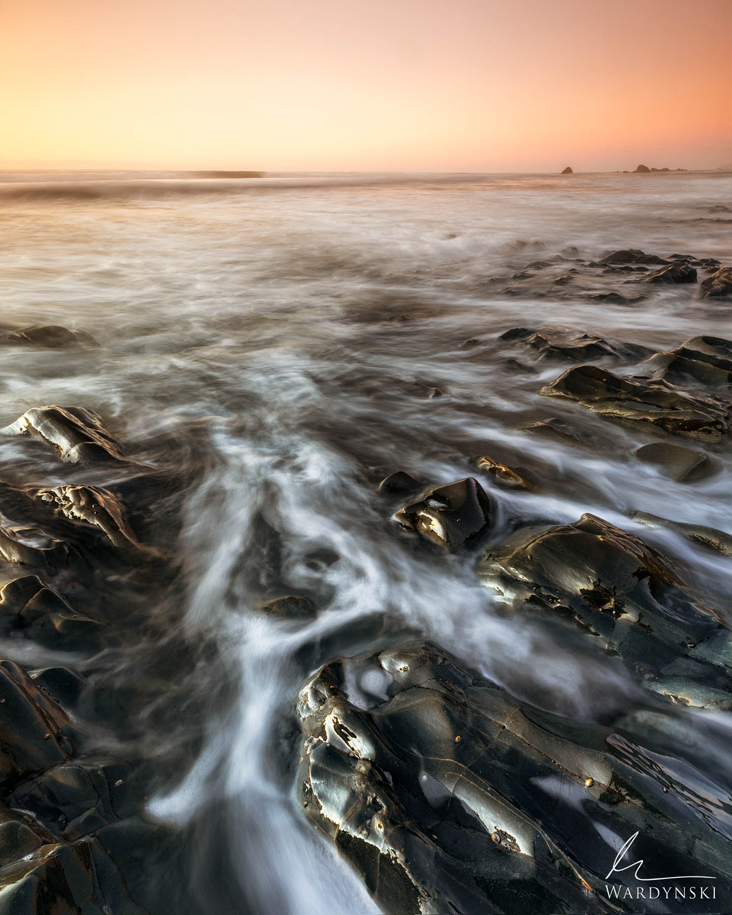 Fine Art Print | Limited Edition of 25  The surf returns back to sea on the west coast of New Zealand during sunset. Over millions...