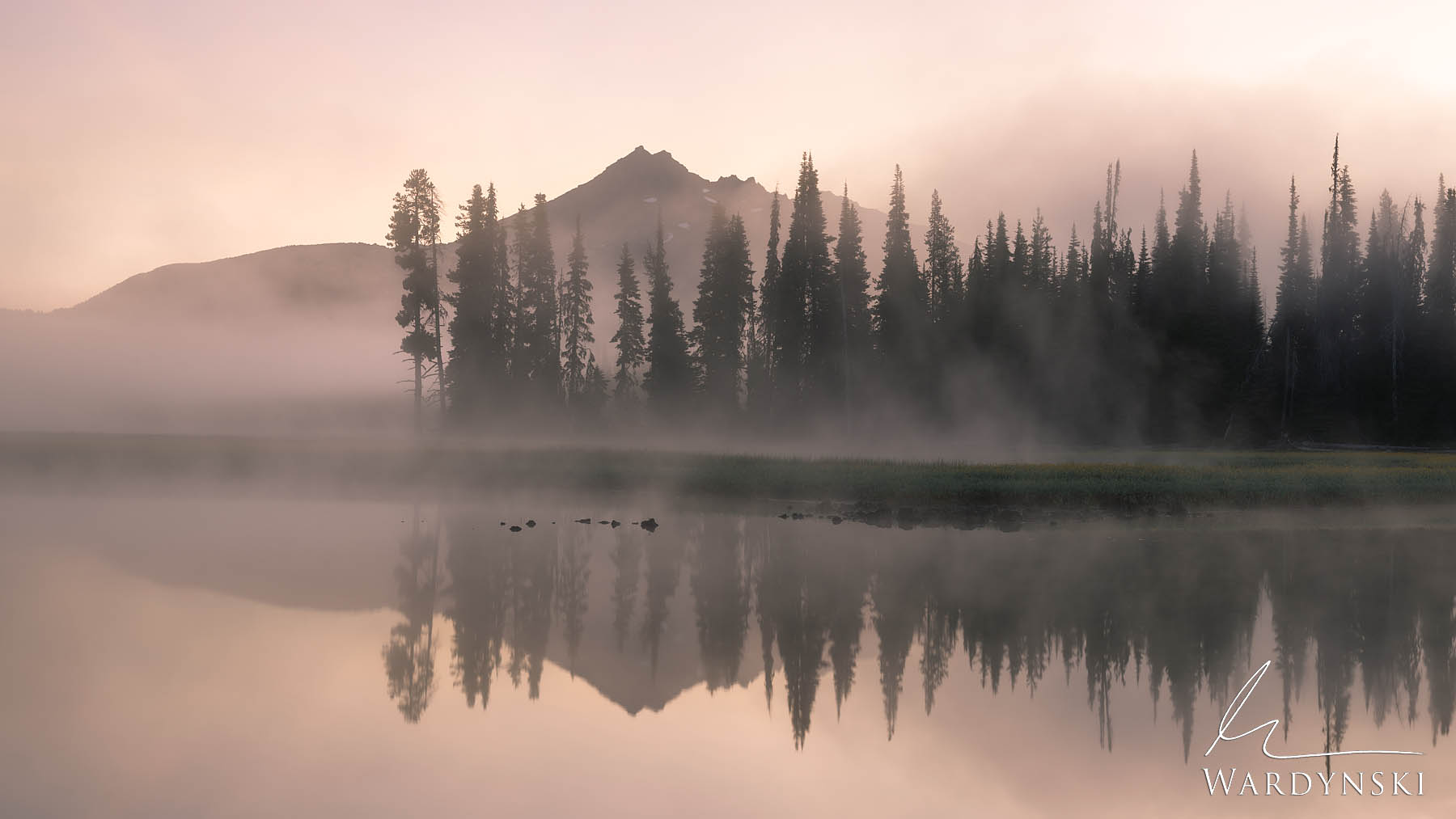 Fine Art Print | Limited Edition of 50  Mist rolls off the water of Sparks lake in Central Oregon during sunrise. This classic...