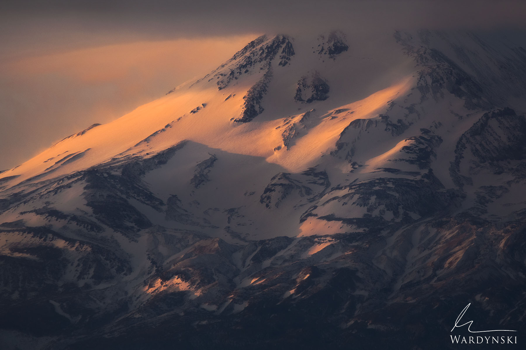 Fine Art Print | Limited Edition of 25  The warm light of sunrise strikes the eastern slope of Mount Shasta in Northern California...