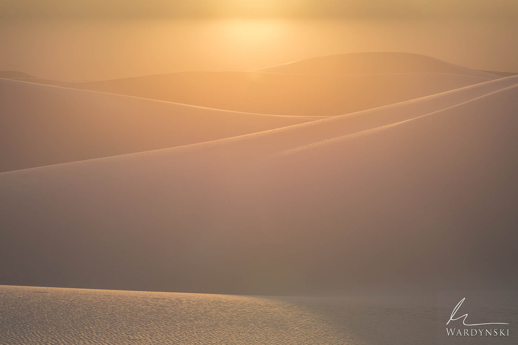 Fine Art Print | Limited Edition of 50 The rolling gypsum dunes of White Sands National Park beautifully reflect the last golden...